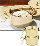 Stratford Chapel Polished Brass Stacking Ciboria with Lid, Holds 600 Hosts