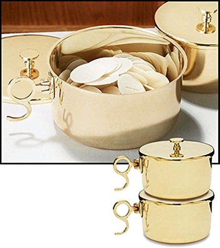(Stratford Chapel Polished Brass Stacking Ciboria with Lid, Holds 300 Hosts)
