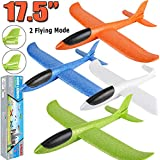 "4 Pack Airplane Toys, 17.5"" Large Throwing Foam Plane, 2 Flight Mode, Foam Gliders, Flying Aircraft, Birthday for Kids 3 4 5 6 7 8 9 Year Old Boy,Outdoor Sport Game Toys, Party Favors"