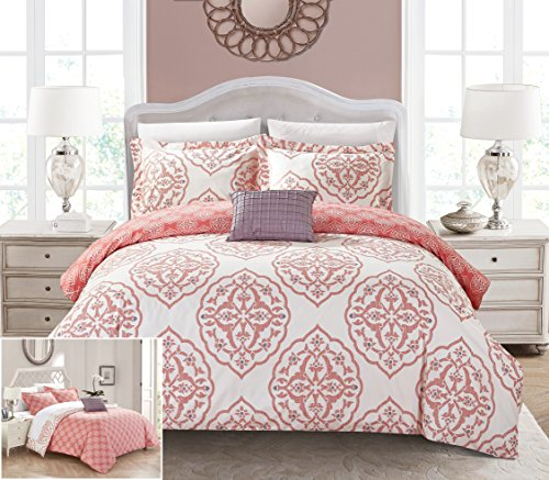 Chic Home Dayanara 8 Piece Reversible Duvet Cover Set Two-Tone Medallion Print Zipper Closure Bed in a Bag Bedding - Sheets Decorative Pillow Shams Included, King Brick Red