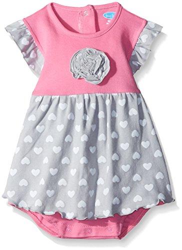 BON BEBE Baby Girls' Flutter Sleeve Sundress with Built-in Diaper Cover, Gray Hearts, 12 Months