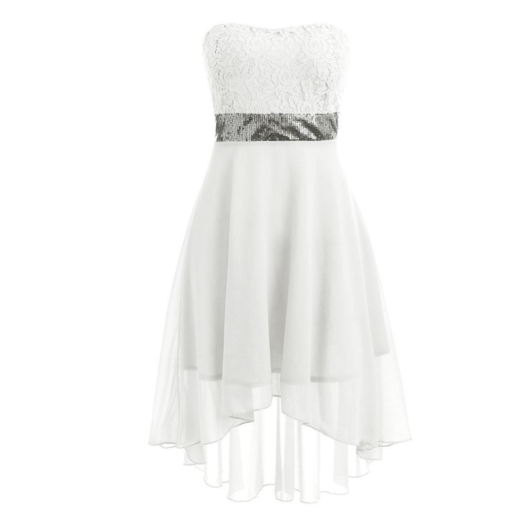2019 New Womens Wedding Dress E-Scenery Off Shoulder Empire Waist Chiffon Bandeau Irregular Party Dresses
