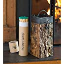 Amazon.com: Recycled Wood And Iron Fireplace Match Holder With ...