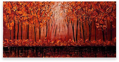 Oil Painting Abstract Modern Contemporary Wall Decor Landscape Art on Canvas Red Tree