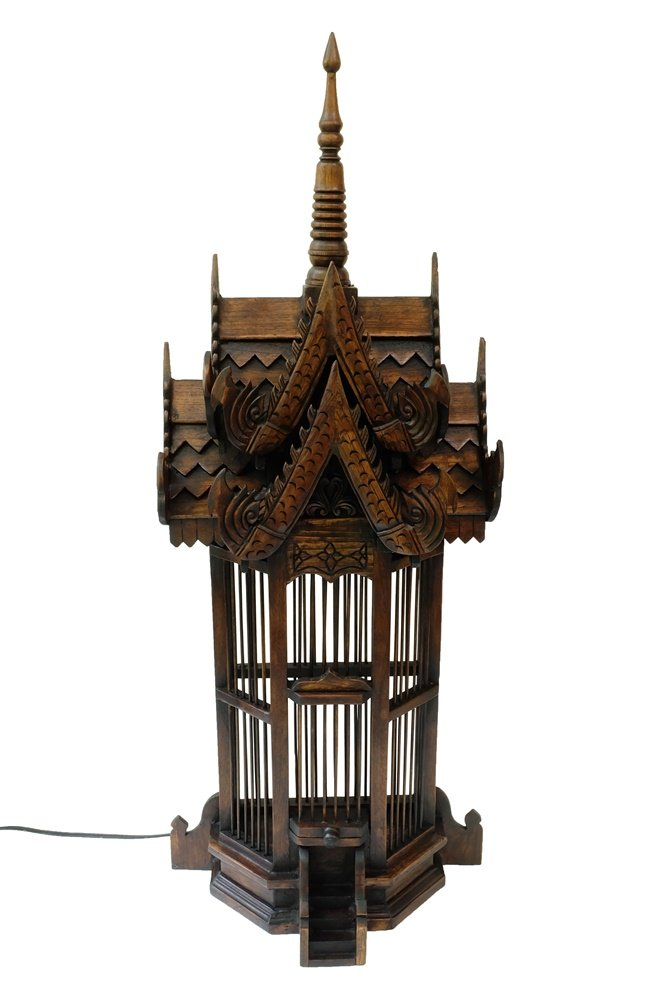 Design by UnseenThailand Spirit House Lamp, Teak Wood Carving Thai Buddhist Temple Style (The four-sided, 15''x10''x40'') by UnseenThailand Warehouse