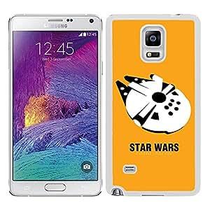 Funda carcasa TPU (Gel) para Samsung Galaxy Note 4 nave Halcón fondo amarillo SW borde blanco