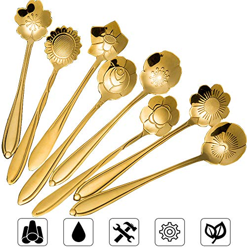 - Stainless Steel Tableware Creative Flower Coffee Spoon, Sugar Spoon, Stirring Spoon, Mixing Spoon, Stir Bar Spoon, Tea Spoon, Ice Tea Spoon for Tea, Cake, Sugar, Dessert Ice Cream Spoon, Set of 8,Gold