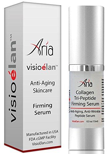 Meilleur Anti Aging Sérum Fermeté - 3 peptides et d'acide hyaluronique Serrer visage et la peau autour des yeux - Anti rides Collagène aide à réduire les ridules, les rides et diminue les taches de vieillesse - Soin du visage professionnel - guérir, répar