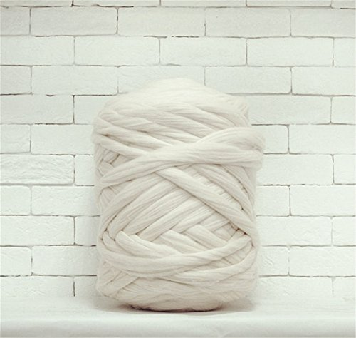 Giant Wool Yarn Chunky Arm Knitting Super Soft Wool Yarn Bulky Wool Roving (2 kg/4.4 lbs, White) -