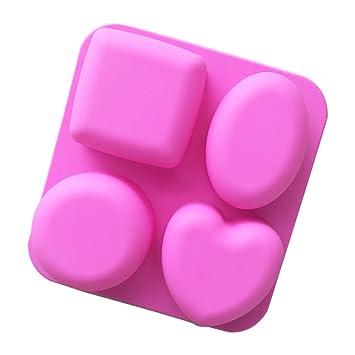 Molde de silicona para repostería de chocolate, gelatina, dulces, 4 agujeros, 1 pieza de 17,5 x 16,5 x 3,6 cm: Amazon.es: Hogar
