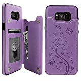 S8 Plus Case Wallet with Card Holder, Vaburs Embossed Butterfly Premium PU Leather Double Magnetic Buttons Flip Shockproof Protective Case Cover for Samsung Galaxy S8 Plus (Purple)
