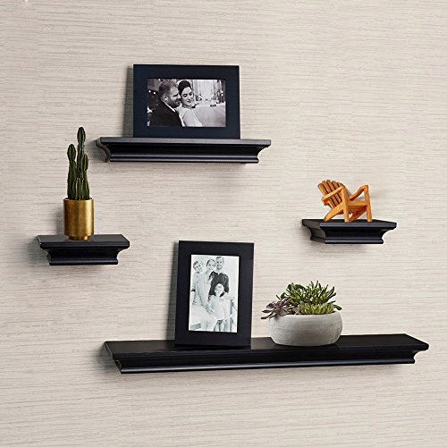 AHDECOR Floating Shelves and Photo Frame set of 6pcs in Black finish – 4 Inches Deep For Sale