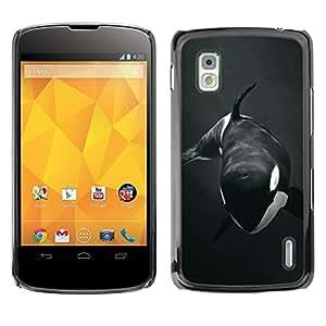 Design for Girls Plastic Cover Case FOR LG Nexus 4 E960 Orca Whale Willy Black White Minimalist OBBA
