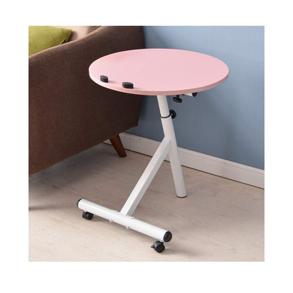 Pink RFJJAL Wheeled Detachable Coffee Table, Simple Round Living Room Bedroom Sofa Table Small Coffee Table Small Table (color   Black)