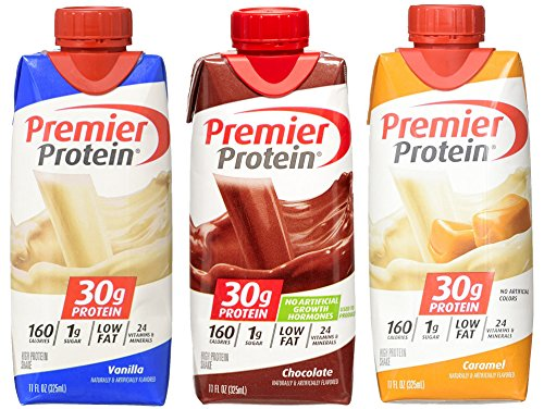 Premier Protein High Protein Shakes, Variety Pack (Vanilla, Chocolate, Caramel), 11oz Each, Pack of 12 (Banana Milkshake Calories)