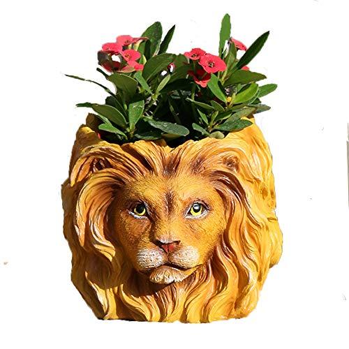 Flower Pot - Lion Resin Plant Pot - Desk Planter - - Lion Planter