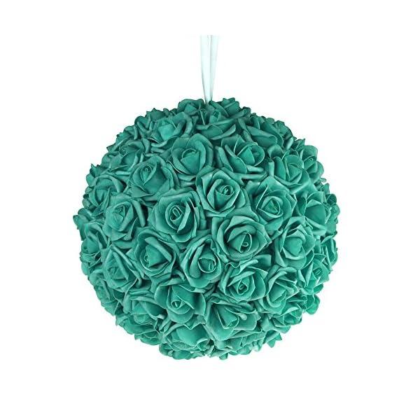 Soft-Touch-Foam-Rose-Flower-Kissing-Ball-Wedding-Centerpiece-12-inch