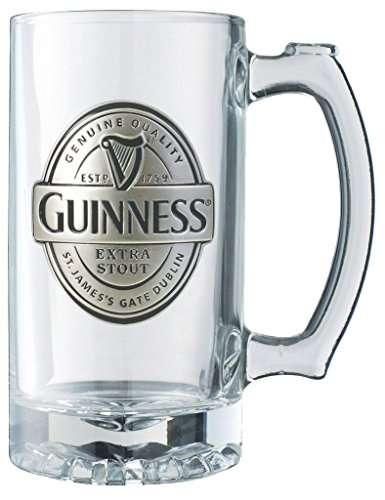 Guinness Label Tankard with Pewter Logo - Large Glass Beer Mug