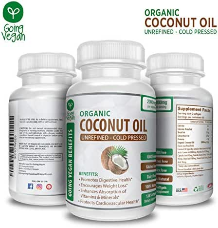 Organic Coconut Oil Capsules 2000mg - Cold Pressed & Non-GMO, Coconut Oil Pills for Weight Management, Extra Hair Growth and Healthy Skin - 120 Softgels - Source Unrefined Pure Coconut Oil