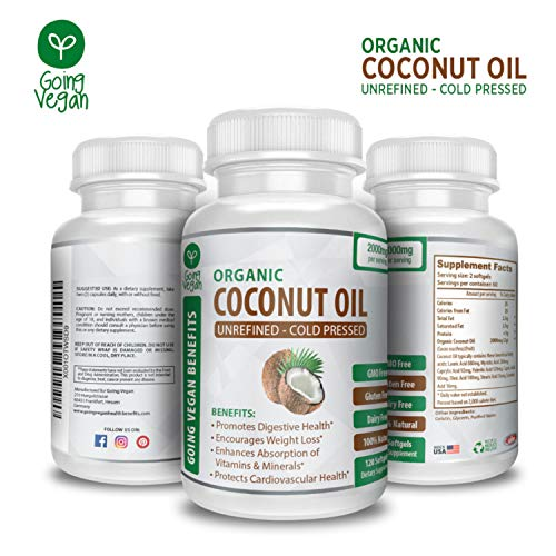 Organic Coconut Oil Capsules 2000mg – 100% Extra Virgin, Cold Pressed for Healthy Skin, Extra Hair Growth, Nail Care, Weight Management & Brain Booster – 120 Softgels – Unrefined Pure & Non GMO Pills