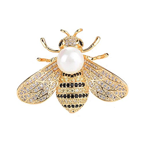 (OCTCHOCO 18K Gold Plating Bee Brooch Pin White Pearl Brooch Crystal Large Bee Pin for Women Dress Wedding Bridal)