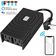Outdoor Smart Plug,iUcare WiFi Outlet With 2 Socket Voice Compatible with Alexa/Echo Google Home Assistant Wireless APP Remote Control Switches Timer Household Devices Outdoor Lights Fountain On/Off