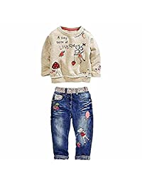 2 PCS Little Girl's Cartoon Pullover Shirt and Jeans Pants