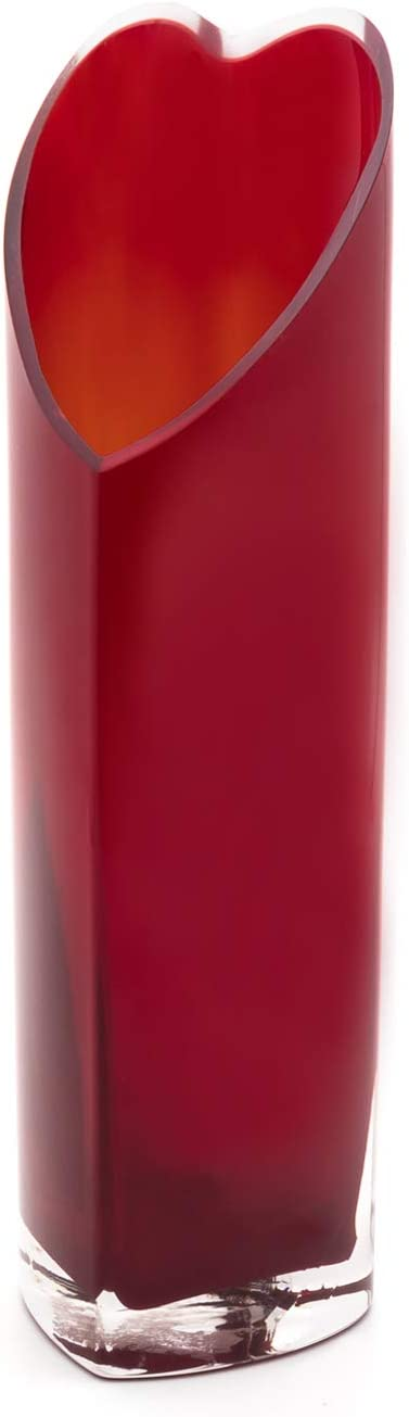 """Royal Imports Flower Glass Vase Decorative Centerpiece for Home or Wedding 12"""" Tall, 3""""x4"""" Opening (Red)"""