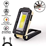 Rechargeable Portable COB LED Work Light, Multi-use Flashlight, 180° Rotatable Foldable Handheld Work Lamp with Magnetic Base Support&Hook&Dimmable for Car Repair, Home Using and Emergency -  YONGYI