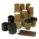 IDEAL PACK of 75 - 12 oz Disposable Triple-Walled Strong Paper Coffee Hot Cups, Travel Lids & Stirrers; Rippled To Go Coffee Cups, Disposable Travel Mug For Hot/Cold Coffee, Tea, Chocolate & Coco