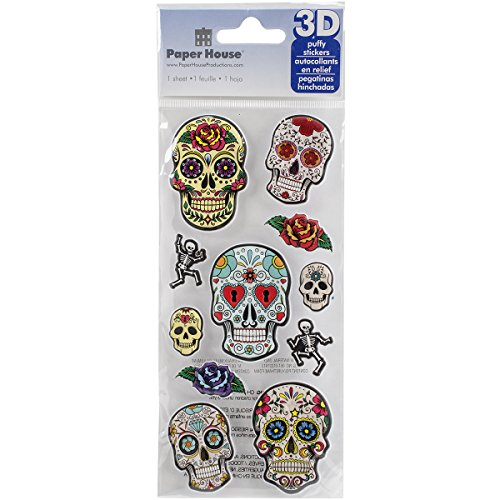 - Paper House Productions STP-0012E Embossed Puffy Stickers, Sugar Skulls (3-Pack)