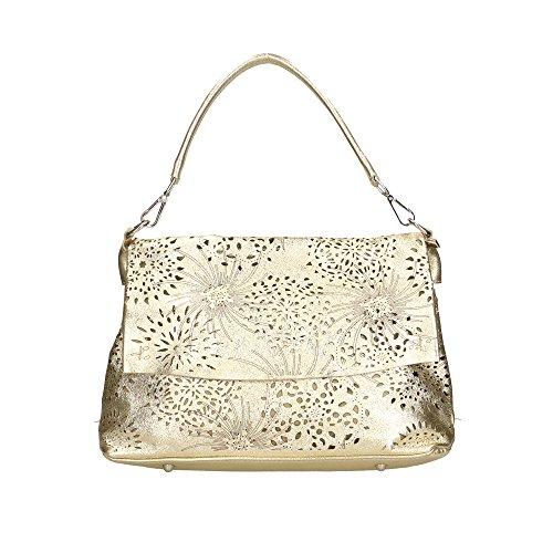 Aren Mujer bolsa de hombro en cuero genuino Made in Italy - 34x25x13 Cm Oro