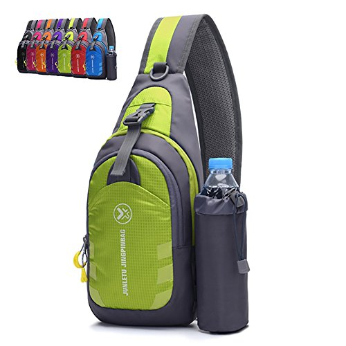 Peicees Chest Crossbody Backpack Sling Backpack Travel Bike Gym Outdoor Daypack Single Shoulder Sling Bag with Water Bottle Holder for Women Men Boys and Girls(Green) ()