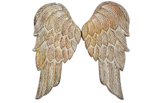Javi Wooden Wings Wall Decor - 18.5 Inch Large Angel Flying Wing Pair Premium Wood Distressed Wall Mounted-Hanging Vintage Sculpture Home Decorations and Accents Set of 2