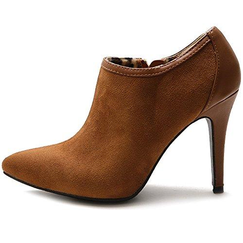 Scamosciato Multi Zip Scarpa Tallone Caviglia Finto Ollio Donne Colore Marrone Delle qn1XwUSWx