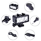 Waterproof Diving Light for Gopro 40M High Power Dimmable Led Video Light Bundle with 6 Accessories (Black, Funshare)