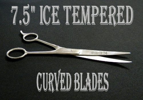 7.5'' ICE Tempered Hair Stylists & Barbers Cutting Scissors Curved Blades 8567 by no!no! (Image #2)