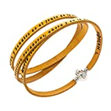 Amen Bracelet in yellow leather Hail Mary SPA, 60 cm (23.64 inc.)