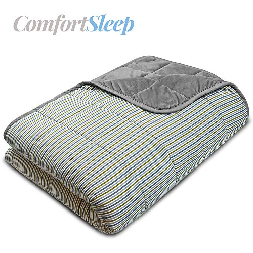 Cheap Titan Weighted Blanket Queen Size | Double-Sided Queen Weighted Blanket Measuring 60 by 80 Inches and Weighing 15 Pounds | Fuzzy Minky Gray Side and Stylish Contemporary Striped Design Side Black Friday & Cyber Monday 2019