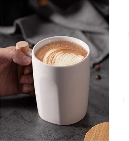 Tasse Litt/éraire De Caf/é De Bureau Tasse De Lait Nordique Tasse En C/éramique Cadeau De Boisson 450 Ml,Black Noir et Blanc Mug En C/éramique Avec Manche En Bois