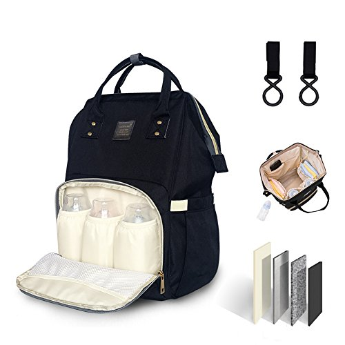 Diaper Bag Multi-Function Waterproof Travel Backpack Diaper Bags for Baby Care, Large Capacity, Multiple Pockets-Wide Open, Stylish and Durable (Black)