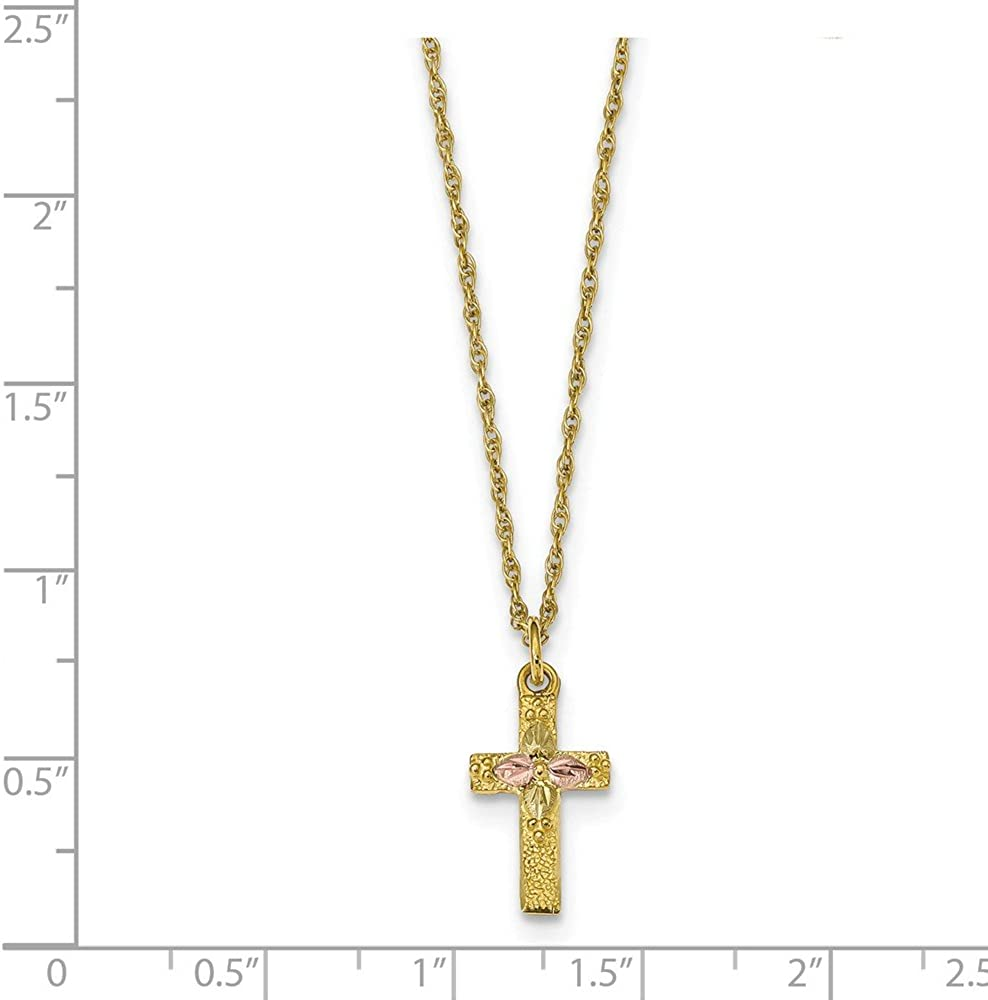 18 Inch Length Necklace 10k Tri-Color Black Hills Gold Cross