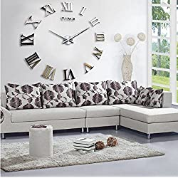 Yikebo Roman Numbers DIY Frameless Quartz 3D Big Mirror Surface Effect Wall Clock, Silver