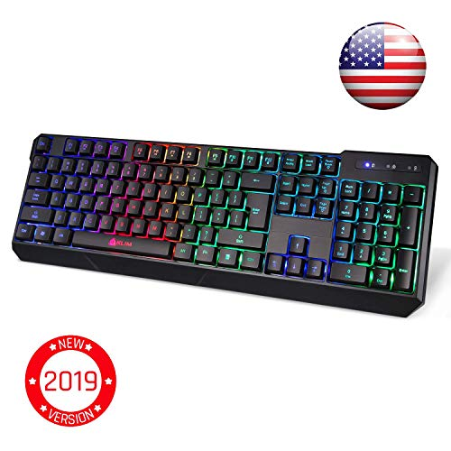 KLIM Chroma Wireless Gaming Keyboard - USB with Led Rainbow Lighting - Backlit, Ergonomic, Quiet, Water Resistant - Black RGB PC Windows PS4 Mac Keyboards - Teclado Gamer Silent Lighted Up Keys ()