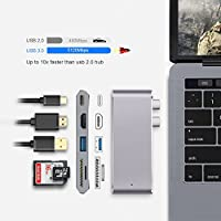 Multi-function Typce-C to Hub3.0 for MacBook, Thunderbolt 3 Hub Adapter with 4K High Definition&Fast Speed Data transmission for SDHC/SDXC Memory Card Reader