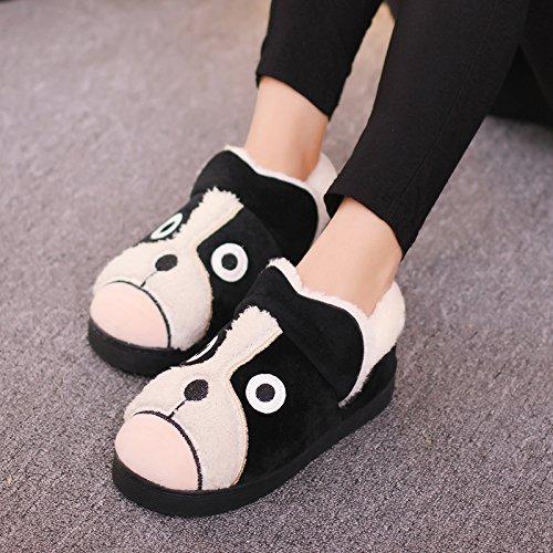 Y-Hui zapatillas de algodón Bolsa con hombres de invierno Home Furnishing zapatos de suela gruesa Interior par Black dog