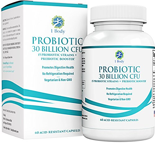 30 Billion CFU Probiotic Supplement with Prebiotics - Patented Acid Resistant Capsules to Promote Gut Health, Support Immune System - Probiotics for Women and Men of All Ages - 60 Vegetarian Capsules