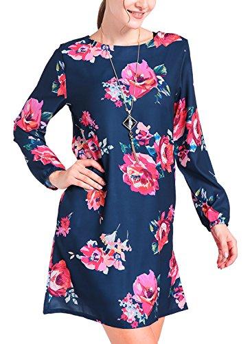 Neck Chiffon Short (MITILLY Women's Round Neck Boho Floral Print Chiffon Casual Long Sleeve Short Dress Large Dark Blue)