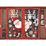Shine-Co Happy Christmas Decorations Window Clings Wall Sticker Decals for Home Office Party Decor (Cute Santa and Snowman)