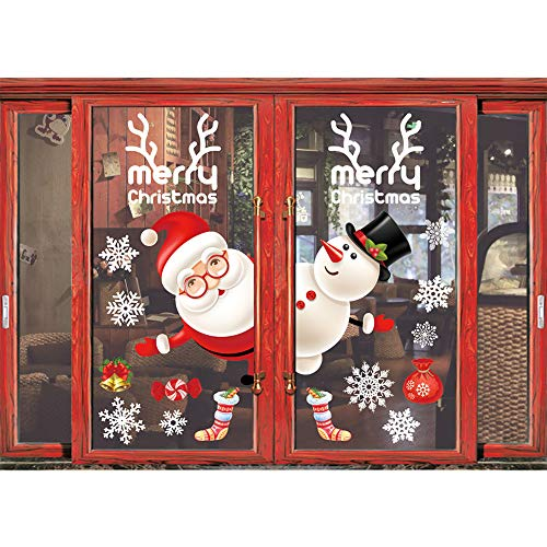 (Shine-Co Window Clings Christmas Stickers Window Decals Christmas Party Decorations Supplies (Cute Santa and Snowman))